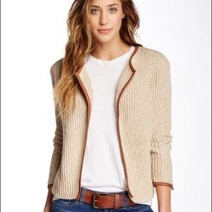 Lucky Brand  Leather Trim Open Front Cardigan XS